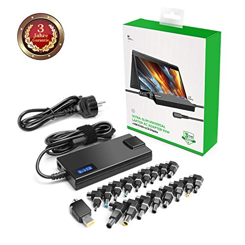 90W Universal Ladegerät für ACER, Sony, Fujitsu, Toshiba, Fujitsu, NEC, GreatWall, HP/Compaq, Dell, Delta, IBM, ASUS, Samsung, LG, Medion+EU Kabel+18 Steckers+5V 2A USB für alle Tablet PC Smartphones