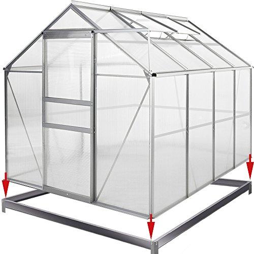 Deuba Aluminium Gewächshaus 7,6m³ mit Fundament Treibhaus Gartenhaus Frühbeet Pflanzenhaus Aufzucht 250x195cm | Modellauswahl | Verschiedene Größen | mit Fundament