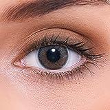 Stark deckende natürliche graue Kontaktlinsen farbig 'Natural Darkgrey' + Behälter von LENZOTICA I 1 Paar (2 Stück) I DIA 14.00 I ohne Stärke
