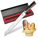 Brotmesser, Imarku Profi 25 cm Brotsäge Küchenmesser mit Wellenschliff aus - Holzgriff und Extra Scharfe Rostfreier Edelstahl