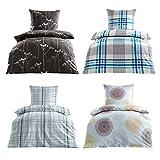 Bügelfrei Seersucker Bettwäsche 2 oder 4 teilig 100% Baumwoll 135x200 cm + 80x80 cm, 4 tlg. Design Luna