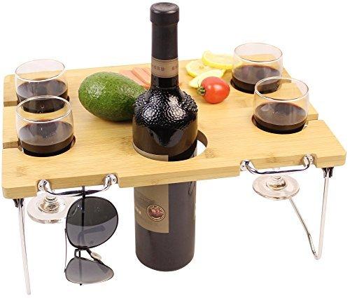 Innostage Picknick-Tisch, Bambus, Wein und Snack, tragbar, klappbar, für Strand, Park oder Bett im Freien