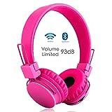 Termichy Drahtlos Bluetooth Kopfhörer für Kinder,Wireless Faltbare Tragbare Headset,On Ear Stereo Kopfhörer mit Shareport Musik-Anteil,Eingebautes Mikrofon für die Freisprechfunktion (Rose)