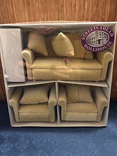 Dolls House Puppenhaus Möbel, beige Couchgarnitur, 3 teilig, 1:12