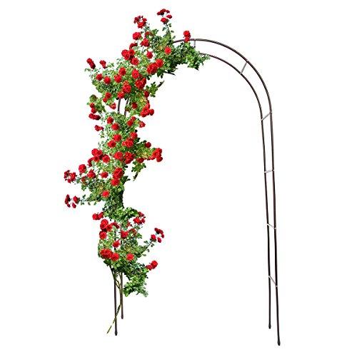 Relaxdays Torbogen Garten pulverbeschichteter Stahl, Rosenbogen für Kletterpflanzen wetterfest und freistehend, schwarz