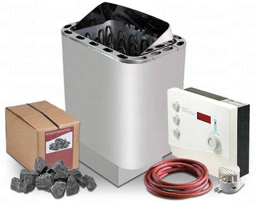 Sawo Nordex Saunaofen 9 kW + Saunasteuerung Sentiotec K2 für die finnische Sauna + Steine und Ofenkabel