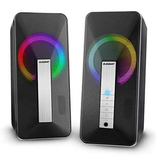 ELEGIANT PC Lautsprecher, Computer Lautsprecher 10w Portable Bluetooth Lautsprecher-Systeme mit Dual Treiber Stereo Sound LED-Beleuchtung für Computer, Laptop, Notebook, Smartphone