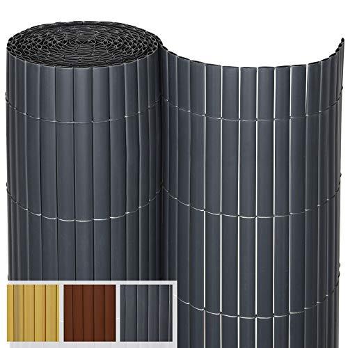 Sol Royal PVC Sichtschutz SolVision P14 - PVC Sichtschutzmatte Balkon & Terrasse 80 x 300 cm Anthrazit Sichtschutzzaun Balkon Sichtschutz