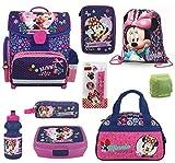Familando Minnie Maus Schulranzen-Set 12-tlg. Dose /Flasche, Federmappe gefüllt, Sporttasche und Regenschutz rosa blau lila Mouse