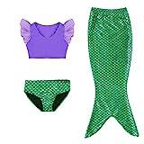 Kleine Mädchen lila Sport Weste mit Fin Swimmable Meerjungfrau Schwanz Badeanzug Meerjungfrau Kostüm (140(9-10Y))