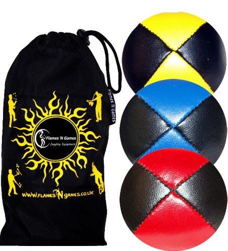Jonglierbälle 3er Set - Profi Beanbag Bälle aus Glattleder (Leather)+Tasche. Set Ideal Für Anfänger Wie Auch Für Profis. (Schwarz mit Gelb/Blau/Rot)