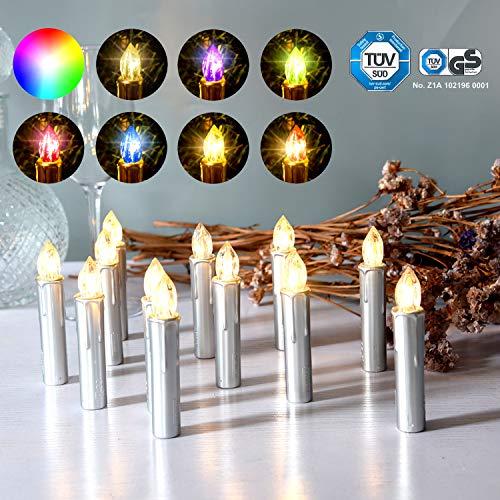 CCLIFE 20/30/40er LED Kerzen RGB Bunt Weihnachtsbaumkerzen weihnachtskerzen Christbaumkerzen Kabellos mit Fernbedienung Timer, Farbe:Silber, Größe:20er