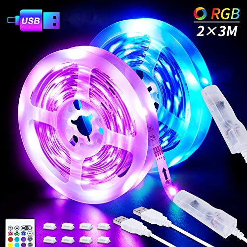 LED-Strip, 6M USB LED Streifen 2 X 3M SHINELINE RGB LED Band 5050SMD Lichtband mit 24 Tasten Fernbedienung 16 Farben 4 Modi dimmbarLED TV Hintergrundbeleuchtung für Zuhause, Schlafzimmer, TV