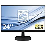 Philips 243V7QJABF/00 60 cm (23,8 Zoll) Monitor (VGA, HDMI, Displayport, 5ms Reaktionszeit, 1920 x 1080, 60 Hz, mit Lautsprecher) schwarz