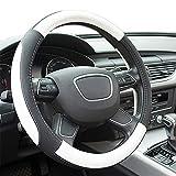 Finoki Auto Universal Anti Rutsch Atmungsaktive Lenkradhülle Lenkradbezug Lenkradschoner aus Mikrofaser-Leder 30-38cm (Weiß)