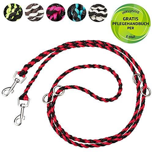 Golden Pets Paracord Hundeleine | 2m, 4-Fach verstellbar | reflektierend, extrem leicht & robust | geflochtene hochwertige Führleine | kleine - große Hunde | + Gratis E-Book