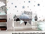 I-love-Wandtattoo WAS-10450 Kinderzimmer Wandsticker Set 'Sterne in einem zarten Pastell Blau und Pastell Grau' 25 Stück Sternenhimmel zum Kleben Wandtattoo Wandaufkleber Sticker Wanddeko
