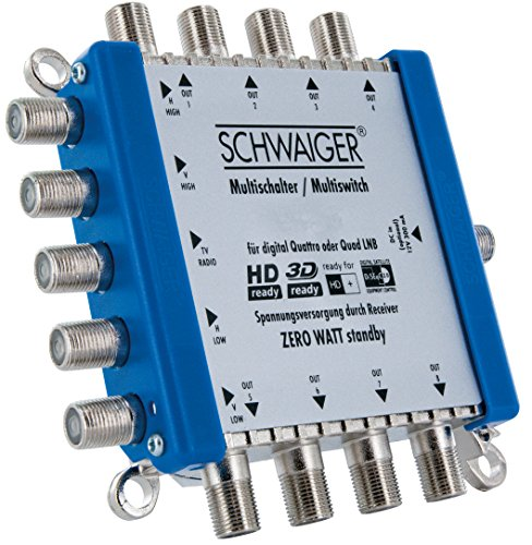 SCHWAIGER -5200- Multischalter 5 - 8 / Verteilt 1 SAT-Signal auf 8 Teilnehmer / SAT-Splitter / digital Multiswitch für Signal-Verteilung / in Kombination mit einem Quattro LNB