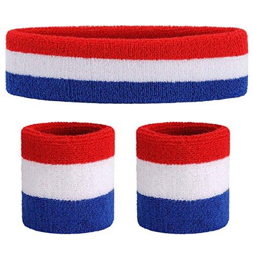 ONUPGO Schweißband Set Sport Stirnband und Handgelenk Schweißbänder Baumwoll Schweißband