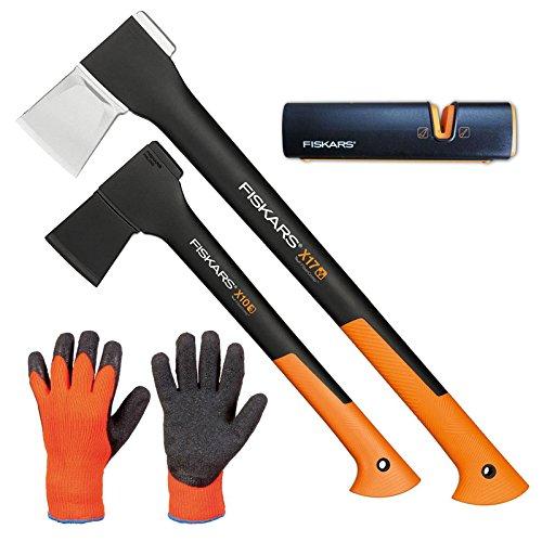 FISKARS Set Spaltaxt X17 - M + Universalaxt X10 - S + Xsharp Axt- und Messerschärfer + Handschuhe