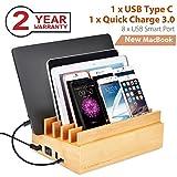 Avantree 100W 10 Lade-Ports, Bambus USB Multi Ladestation für Mehrere Geräte, Schnellladegerät Quick Charge 3.0 & Typ C, für New MacBook, Handy Smartphones, iPad und Tablets [2 Jahre Garantie]