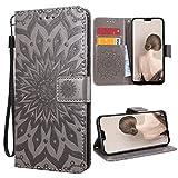 VemMore für Huawei Mate 20 Lite Hülle Handyhülle Schutzhülle Leder PU Wallet Flip Case Bumper Lederhülle Ledertasche Blumen Muster Klapphülle Klappbar Magnetisch Dünn Silikon Sonnenblume - Grau