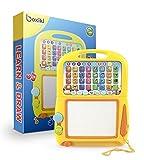 Boxiki Kids Englisch Lern -Tablet + Magnetisches Mal-Pad, Musikspielzeug für Kleinkinder mit Lernspielen für Kinder. Lernspielzeug für die Kindesentwicklung. Zum lernen von Nummern, dem ABC, Buchstabierspielen, Liedern