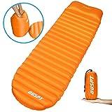 Ultraleichte Aufblasbare Isomatte mit Kopfkissen,Camping Luftmatratze Isomatte Wasserabweisend und Rutschfest Schlafmatte,Tragbare Sleeping Pad für Camping, Reise, Outdoor (Orange)