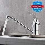 GAVAER Wasserhahn Küche, 360° Schwenkbarer Küchenarmatur,Passend für Doppel Küchenspüle. Mischbatterien für Küche(Kaltes und Heißes Wasser), Messingbasis, Verchromter Prozess.