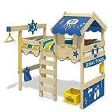 WICKEY Hochbett CrAzY Jelly Kinderbett mit Dach Spielbett 90x200 für Kinder mit Lattenboden und Hebezugsystem, blau