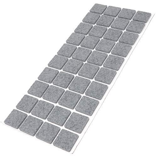 Adsamm   40 x Filzgleiter   25x25 mm   Grau   quadratisch   3.5 mm starke selbstklebende Filz-Möbelgleiter in Top-Qualität
