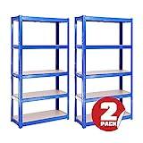 G-Rack Lagerregal für Garage, Werkstatt, Speisekammer - 150cm x 75cm x 30cm, Blau 5-stufig (175KG pro Regal) – 875KG Kapazität – 5 Jahre Garantie
