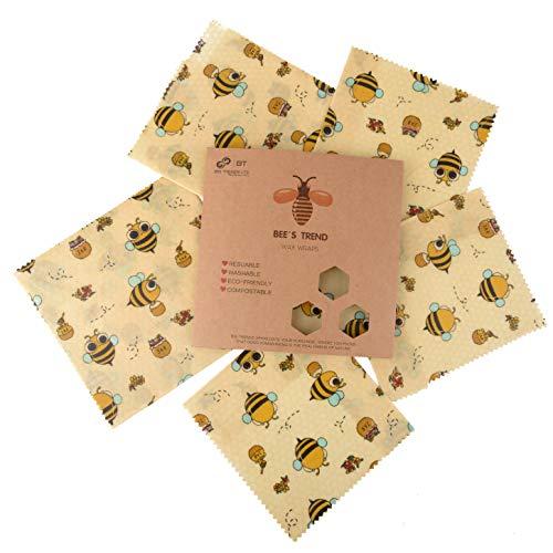 Bee's Trend Set von 6 Bienenwachs-Wickeltüchern, für natürliche Lebensmittelaufbewahrung, keine Abfälle, Käse und Sandwich-Verpackungen, waschbare Schüsselbezüge