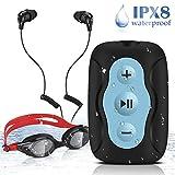 AGPTEK Wasserdicht MP3 Player zum Schwimmen und Laufen, mitgeliefert Unterwasser-Kopfhörer mit federtem Kabel, 3 Arten Ohrhörer (SML), Schwimmbrille