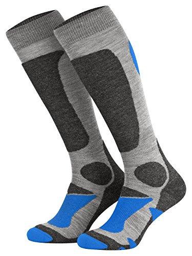 Piarini 2 Paar Unisex Skisocken Skistrumpf Herren, Damen und Kinder für Wintersport, Snowboard atmungsaktive Knie-Strümpfe Farbe Grau-Blau Gr.43-46