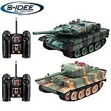 s-idee 01662 2 x Battle Panzer 1:28 mit integriertem Infrarot Kampfsystem 2.4 Ghz RC R/C ferngesteuert, Tank, Kettenfahrzeug, IR Schussfunktion, Sound, Licht, Neu, 1:24, Schuss Sound, Beleuchtung