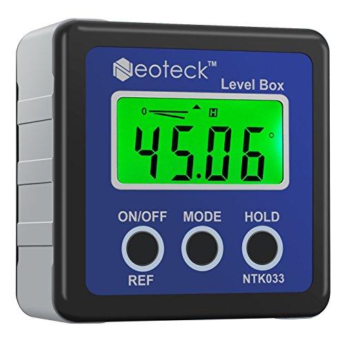 Neoteck Digitaler LCD Winkelmesser Neigungsmesser Inklinometer Wasserdicht Bevel Box Winkelmessgerät Wasserwaage - Blau