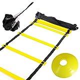 Huvai Koordinationsleiter zum Training, 6m lang 12Sprossen, mit Widerstandsfallschirm, 12 gelben kegelförmigen Scheiben, einer Tragetasche