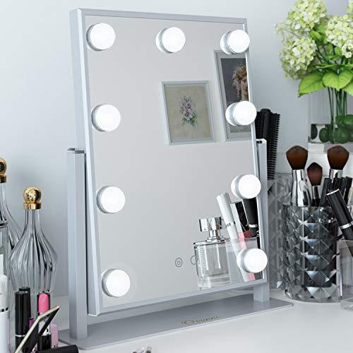 Ovonni Schminkspiegel mit Beleuchtung 9 LED-Lampen Hollywood Kosmetikspiegel Beleuchtet für Wohnzimmer,Kosmetikstudio, Hotel Weiß