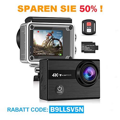 Icefox Action Cam 4K Unterwasserkamera Wasserdicht 40M Ultra HD 20MP Kamera 170 ° Ultra-Weitwinkel WiFi Camcorder EIS Stabilisierung mit Dual 1350 mAh Akku