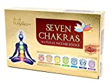Räucherstäbchen Set 7 Chakren, indische Premium Masala Stäbchen, 7 Sorten Muladhara, Swadhisthana, Manipura, Anahata, Vishudha, Ajna und Sahasra, für Meditation/Yoga, edles Chakra Geschenkset