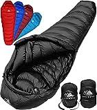 Hyke & Byke Quandary -10 Grad C Down Schlafsack für Backpacking, Ultraleicht Entenfeder Schlafsack mit leichtem Kompressions-Sack und Fünf (5) Farboptionen (Schwarz, Lang)