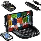 mobilefox KFZ Anti-Rutsch Matte integr. Handy Halterung + Ladekabel SET für Motorola Moto G/E/X - Rutschfestes Auto Halter Pad