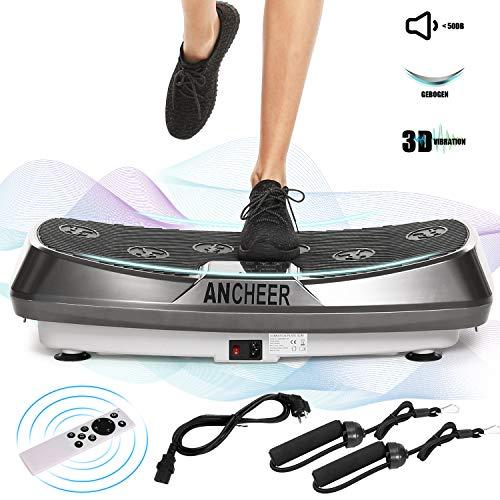 Ancheer Profi Vibrationsplatte mit 2 Leistungsstarke Motoren, 3D Vibrationsgeräte Fitness, einmaligen Curved Design, Color Touch Display, inkl. Trainingsbänder, Fernbedienung