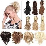TESS Pferdeschwanz Haarteil Ponytail Extensions DIY Haarverlängerung Clip in Synthetik Haare für Zopf Haarteil Hair Extensions 12'(30cm)-95g Dunkelblond