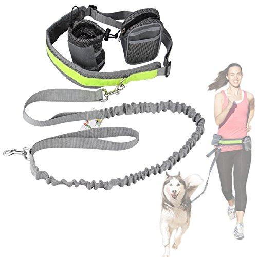 Cadrim Hunde Joggingleine mit verstellbarem Hüftgurt,elastische Bungee Leine zum handfreien Laufen/Fahrrad fahren,zusätzliche Tasche für Handy und Schlüssel etc. super zum Laufen, Joggen, Wandern und Markteinkauf,Schwarz/Weiß (Grau) …
