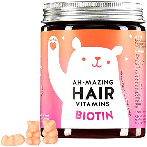 Biotin 10.000 mcg Gummibärchen - Haar Vitamine für schöne Haut, Haare, Nägel - Bears with Benefits AH-MAZING HAIR Vitamin Gummies - Monatsvorrat - 100% natürlich, vegan, hochdosiert