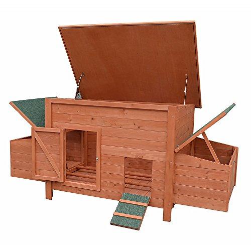 Melko Hühnerstall XXL Hühnerhaus inkl. Rampe + 2 Nestboxen + 2 Hühnerstangen, aus Holz, 179 x 80 x 75 cm, braun