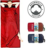 MIQIO 2in1 Baumwoll-Hüttenschlafsack mit durchgängigem Reißverschluss (Koppelbar): Leichter Komfort Reiseschlafsack und XL Reisedecke in Einem - Sommer Schlafsack Innenschlafsack (Rot, Links)