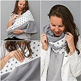 Mania Stillschal Big Star, das Original, Stilltuch aus 100% Öko-Tex-Baumwolle, diskretes Stillen unterwegs, Geräusch-Schutz für Baby, mit unsichtbarem Stilleinlagen-Einschub, weiß/grau, Größe: S/M